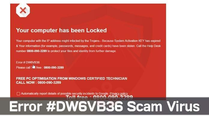 Il tuo PC è stato bloccato errore dw6vb36