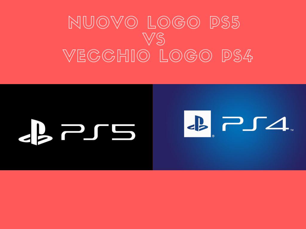 Confronto nuovo logo ufficiale PS5 con vecchio PS4